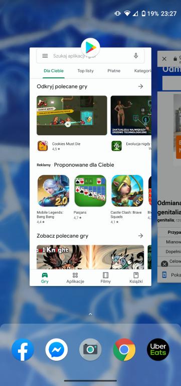 Lista aktywnych procesów w Androidzie 10