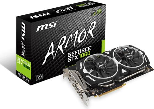 MSI GeForce GTX 1060 6GB GDDR5 (192 Bit) HDMI, DVI-D, 3xDP, BOX (GTX ARMOR 6G OC)