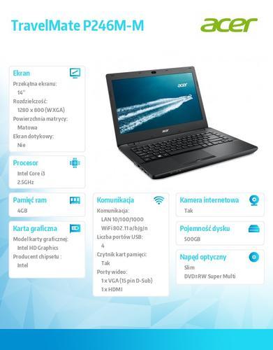 "Acer TravelMate P246M-M 14""/i3-4100M/4GB/500GB/Intel HD/Win7P/Win8.1P"