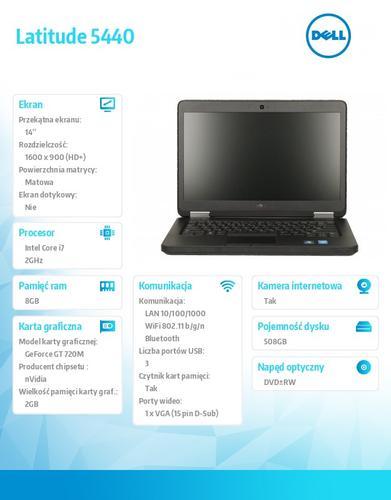 "Dell Latitude E5440 W78.1 (lic 64-bit Win8, nosnik) i7-4600U/500+8GB SSHD/GT720M 2GB/DVD-RW/6Cell/3Y NBD/Backlit/14"" HD+"