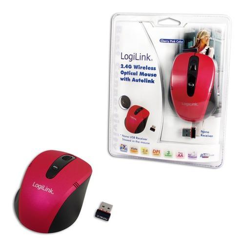 LogiLink Bezprzewodowa mysz optyczna 2.4 GHz różowa