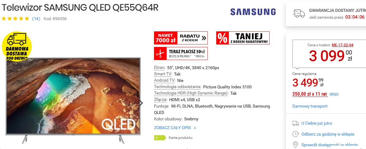 SAMSUNG QLED QE55Q64R należy wejść do sklepu internetowego mediaexpert.pl