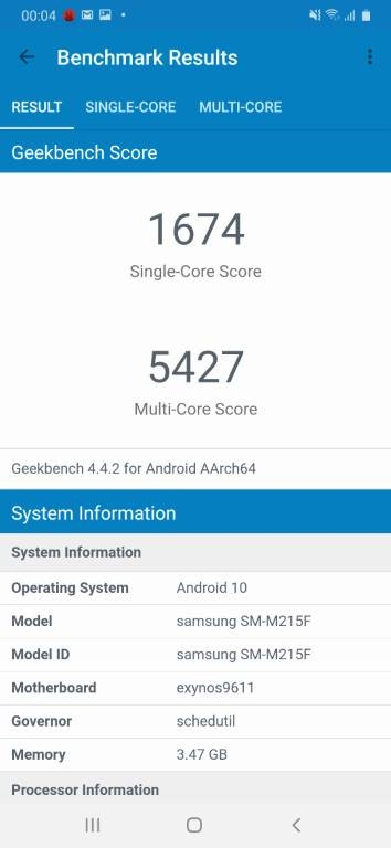 Wynik Samsunga Galaxy M21 w Geekbench 4