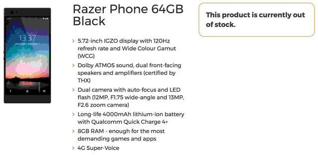 Razer Phone Specyfikacja