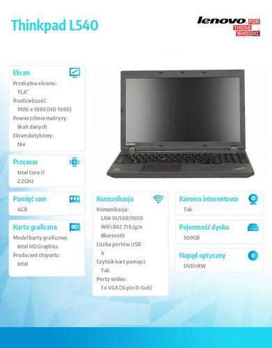 """Lenovo Thinkpad L540 20AUA18EPB Win7Pro&Win8.1Pro64-bit i7-4702MQ/4GB/500GB/Intel HD/6c/15.6"""" FHD WWAN Ready,Black/1Yr CI"""