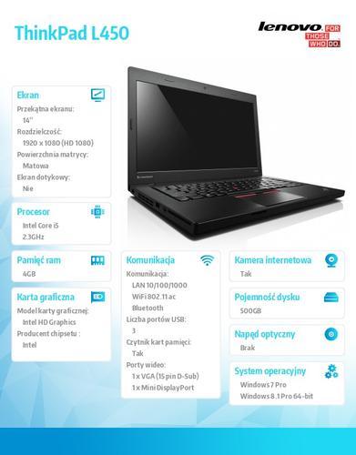 """Lenovo ThinkPad L450 20DS0001PB Win7Pro & Win8.1Pro 64-bit i5-5300U/4GB/500GB/HD5500/N-Optical/6c/14.0"""" FHD IPS AG,WWAN Ready,Black/1 Yr CI"""