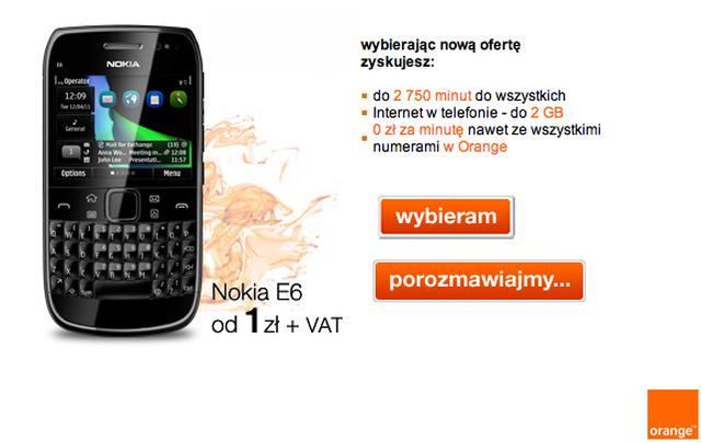 Nokia E6 za 1zł i nielimitowane rozmowy w Orange