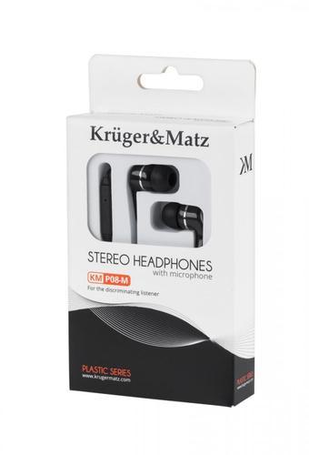 Kruger & Matz Słuchawki przewodowe douszne czarne z mikrofonem KMP08-M