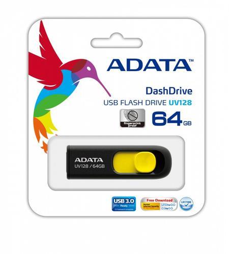 A-Data DashDrive UV128 64GB USB3.0 czarno - żółty 90MB / 40MB