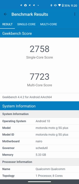 Wynik Motoroli Moto G 5G Plus w Geekbench