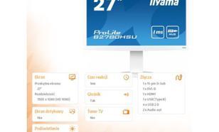 IIYAMA 27'' B2780HSU-W2 DVI, HDMI, USB, Pivot, i