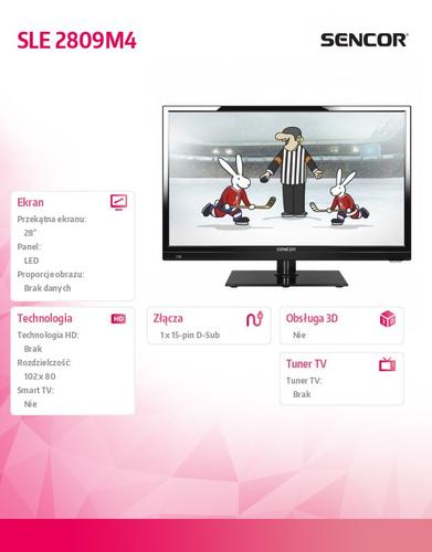 SENCOR 28'' SLE 2809M4 HD READY,DVB-T/C, MPEG-4,TIMESHIFT