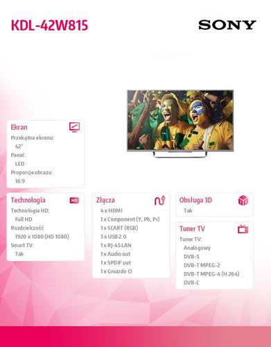 Sony 42'' LED KDL-42W815