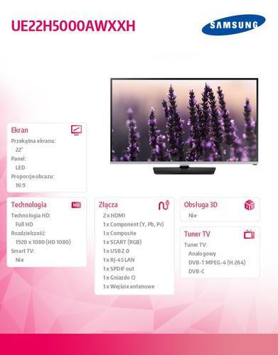 Samsung 22'' TV Slim LED Full HD UE22H5000AWXXH