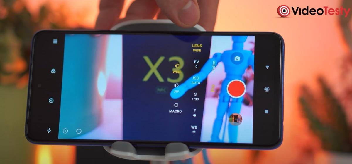 Tryb video w POCO X3 NFC pozwala na korekty ISO i czasu migawki