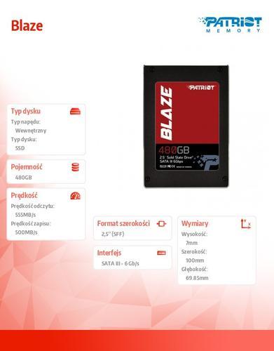 Patriot Blaze SSD 480GB 555/500 MB/s 7mm