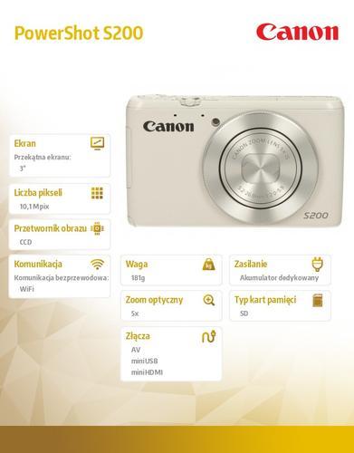 Canon PowerShot S200 WHT WIFI 8675B015AA