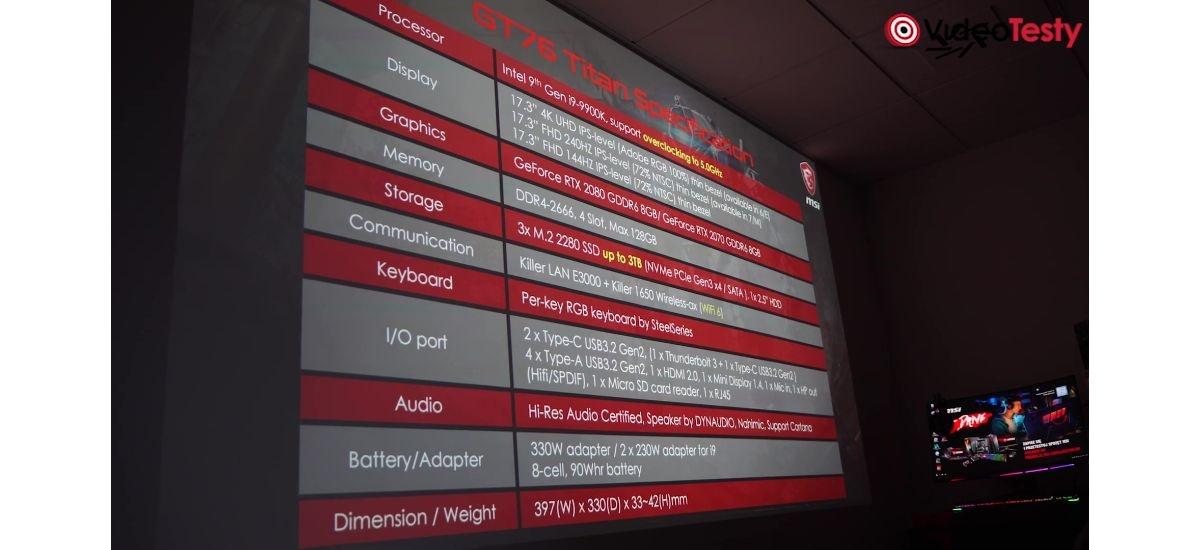 MSI GT76 Titan - specyfikacja