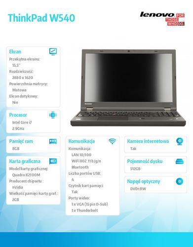 "Lenovo ThinkPad W540 20BG0042PB Win7Pro & Win8.1Pro 64-bit i7-4910MQ/8GB/SSD 512GB/Quadro K2100M 2GB/DVD Rambo/9c/15.5"" AG Black, WWAN Ready"