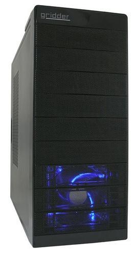 LC-Power OBUDOWA CASE-PRO-916BII GRIDDER FRONT 2X USB 3.0 2X USB 2.0 HD-AUDIO 120mm NIEBIESKI WENTYLATOR CZARNA SIATKA