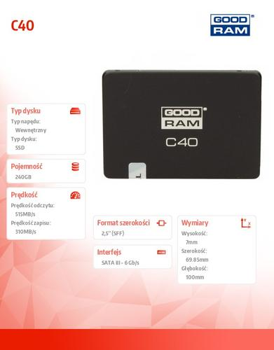 GoodRam SSD C40 240GB SATA3 2,5 515/310 MB/s 7mm