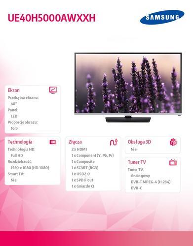 Samsung 40'' TV Slim LED Full HD UE40H5000AWXXH