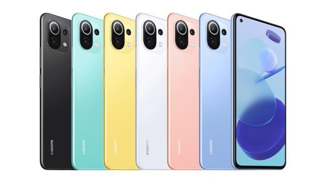Oto kolory Xiaomi Mi 11 Lite (pierwsze trzy) oraz Mi 11 Lite 5G (pozostałe trzy)