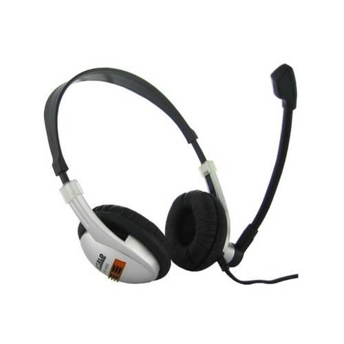 4World Słuchawki z mikrofonem srebrne z wygodnymi nausznikami 02982