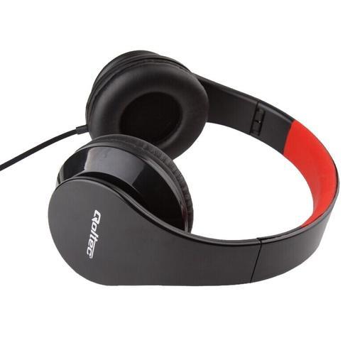Qoltec Słuchawki nauszne - mikrofon | czarno-czerwony | składane