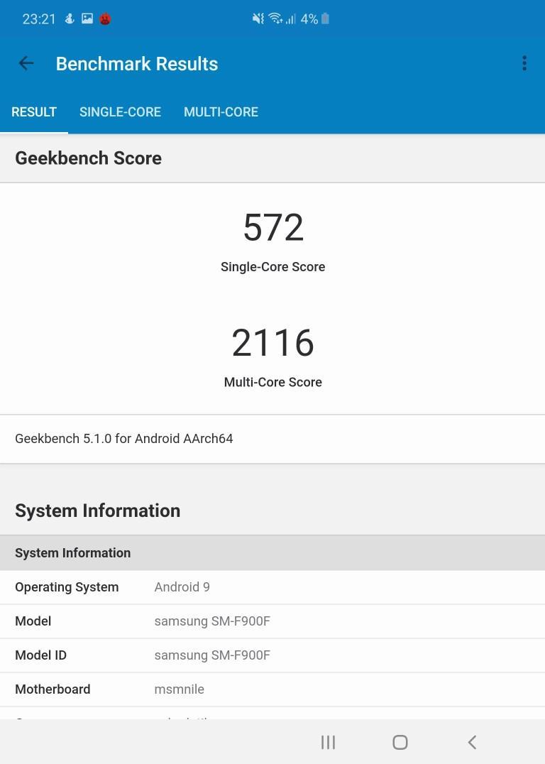 Wynik Samsunga Galaxy Fold w Geekbench 5