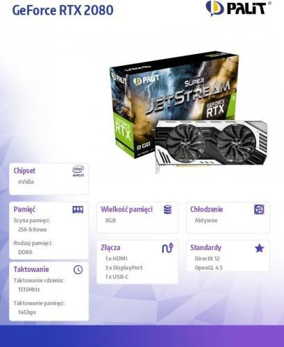 Palit Geforce RTX 2080 Super Jetstream 8GB GDDR6 (256 Bit), HDMI,