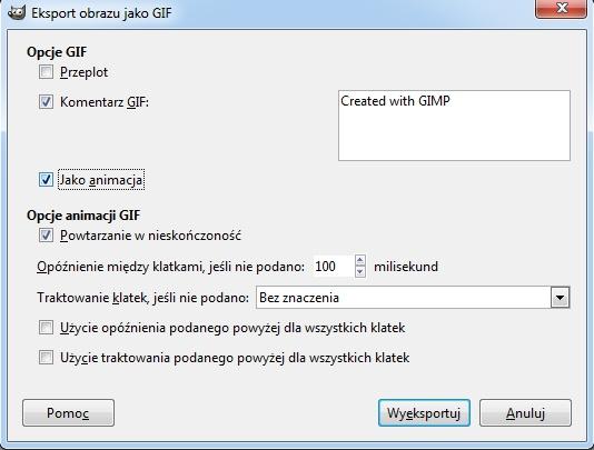 Opcje eksportu GIFa