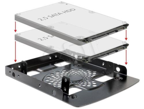 """DELOCK RAMKA INSTALACYJNA DO NAPĘDU 2X HDD, SSD 2.5"""" W KIESZENI 3.5"""""""