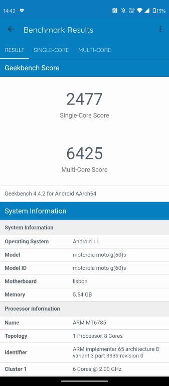 Geekbench 4 i Motorola Moto g60s