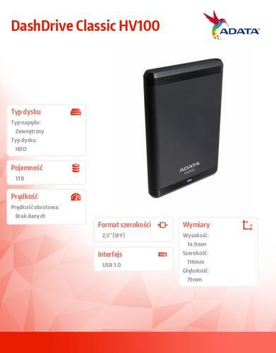 A-Data DashDrive Classic HV100 1TB 2.5'' USB3.0 Black