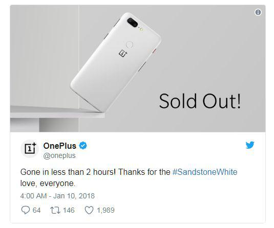 OnePlus 5T Sandstone White Limited Edition