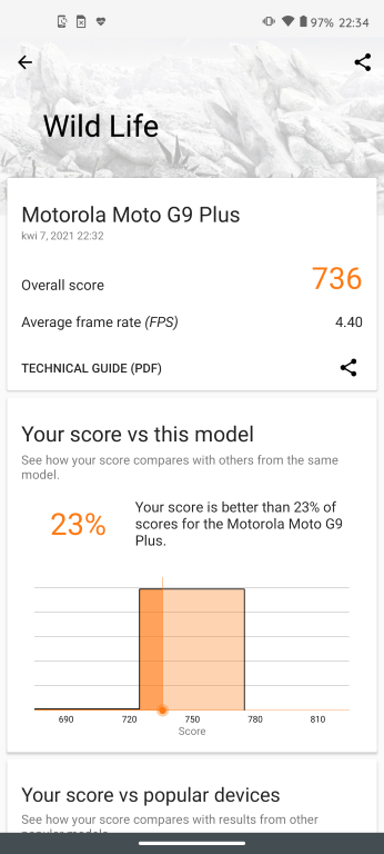 Motorola Moto G9 Plus benchmark 3D Mark