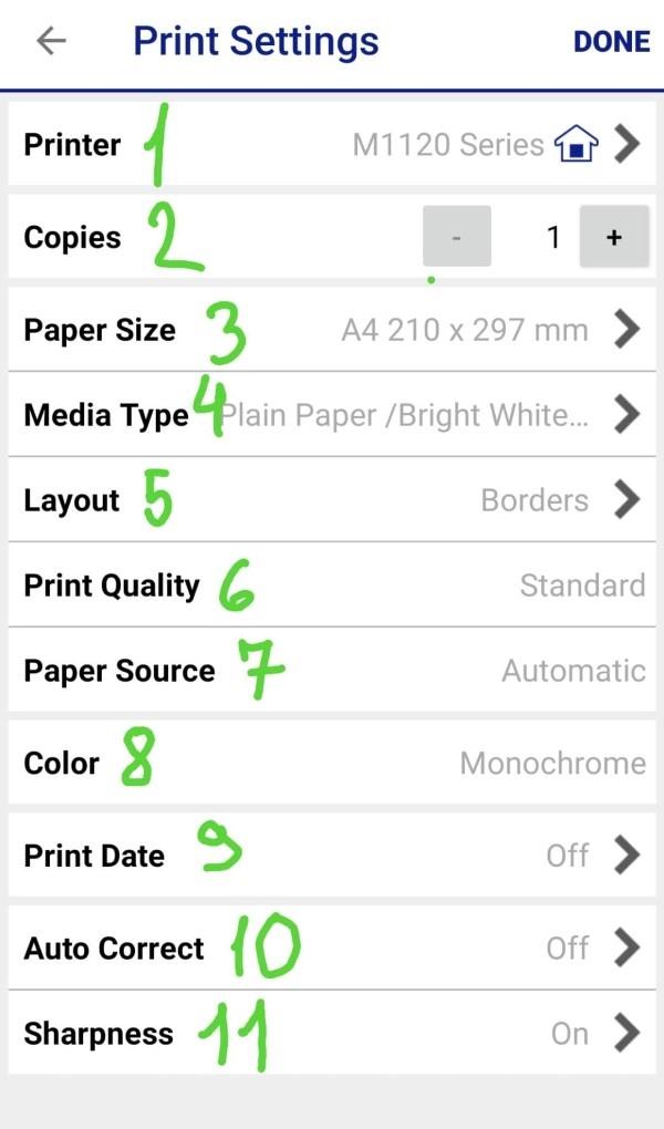 Epson iPrint ustawienia