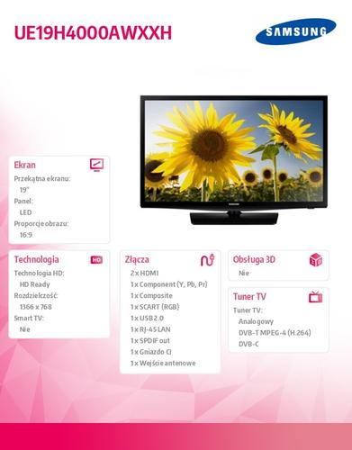 Samsung 19'' TV Slim LED HD UE19H4000AWXXH