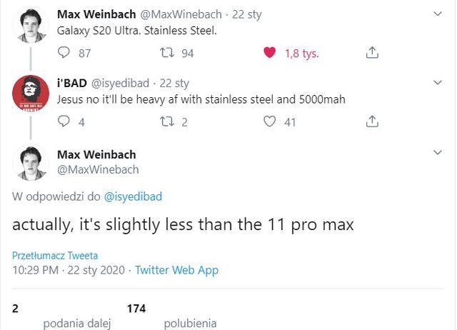 Galaxy S20 Ultra mimo stalowej ramki ma ważyć mniej od iPhone'a 11 Pro Max (221 vs 229 gramów)