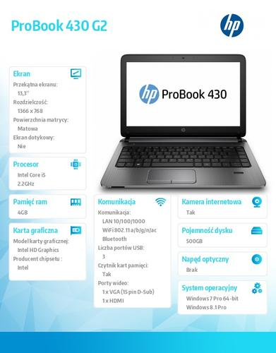 HP 430 G2 i5-5200U W78P 500/4G/13,3 K9J60EA