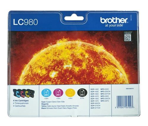 BROTHER Tusz LC980VALBP=LC-980VALBP, Zestaw CMYBk, LC980C+LC980M+LC980Y+LC980BK