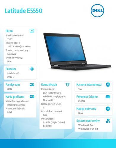 "Dell Latitude E5550 Win78.1Pro(64-bit win8, nosnik) i5-5300U/256GB/8GB/BT 4.0/4-cell/Office 2013 Trial/KB-Backlit/15.6""FHD/3Y NBD"