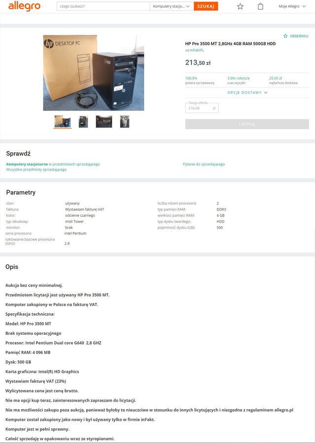 Komputer za 500 zł - HP Pro 3500 MT