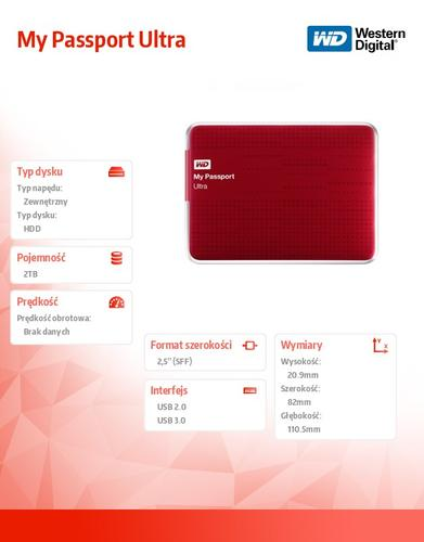 Western Digital Passport WDBZFP0020BRD 2TB 2,5'' USB 3.0 - czerwony