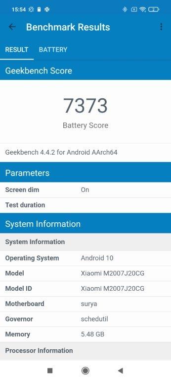 Czas pracy na baterii w POCO X3 NFC według Geekbench