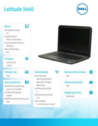 """Dell Latitude 3440 Ubuntu i5-4210U/1TB/8GB/GT 740M/14""""HD+/6Cell/3YNBD"""