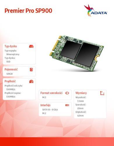 A-Data SSD Premier Pro SP900M.2 2242 128GB SATA3 4cm
