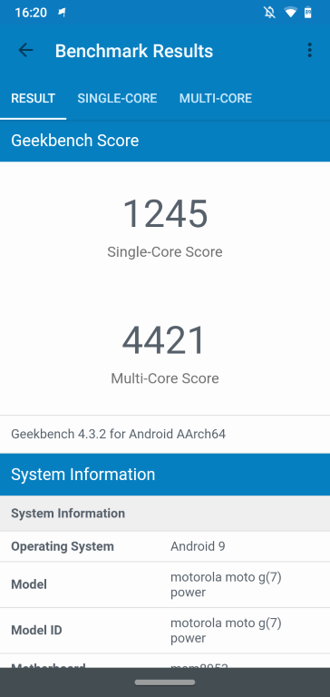 Wynik Geekbench Motorola Moto G7 Power