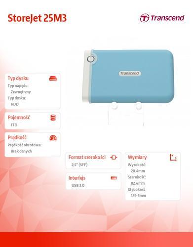 Transcend StoreJet 2.5' M3B 1TB USB3.0 BLUE/SLIM
